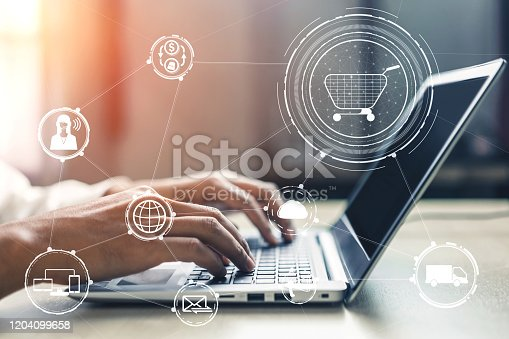 938918098 istock photo Omni channel technology of online retail business. 1204099658