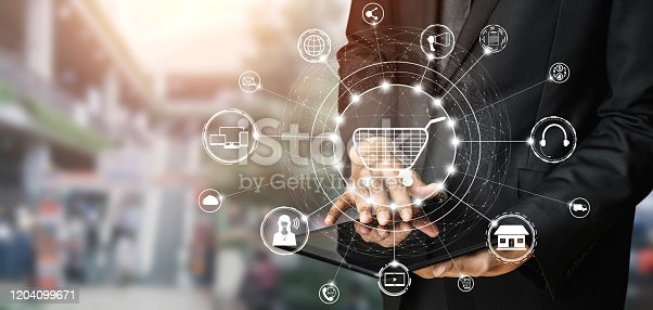 938918098 istock photo Omni channel technology of online retail business. 1204099671