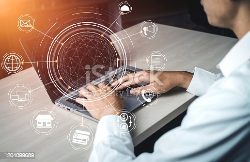 1025744816 istock photo Omni channel technology of online retail business. 1204099689