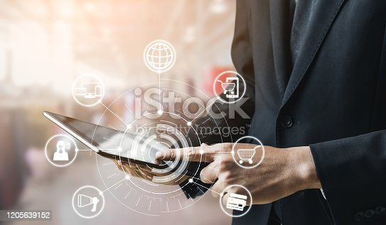 1025744816 istock photo Omni channel technology of online retail business. 1205639152