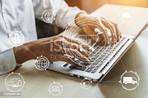 1025744816 istock photo Omni channel technology of online retail business. 1205639163