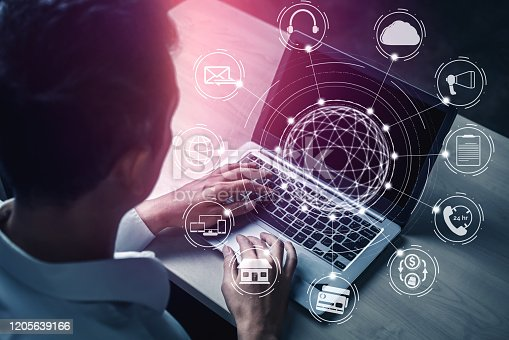 938918098 istock photo Omni channel technology of online retail business. 1205639166