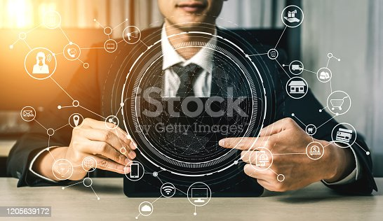 1025744816 istock photo Omni channel technology of online retail business. 1205639172