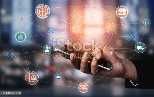 1025744816 istock photo Omni channel technology of online retail business. 1205639178