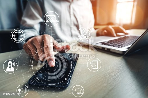 1025744816 istock photo Omni channel technology of online retail business. 1205639192