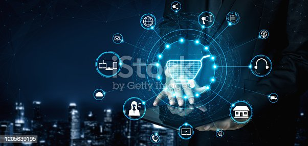 938918098 istock photo Omni channel technology of online retail business. 1205639195