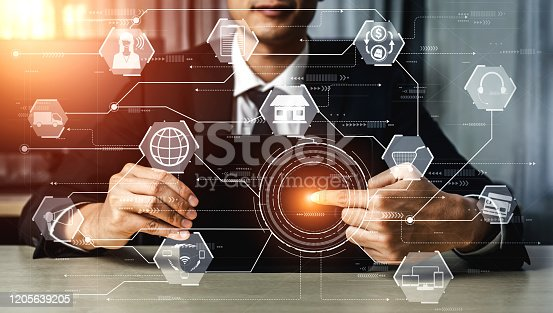 1025744816 istock photo Omni channel technology of online retail business. 1205639205