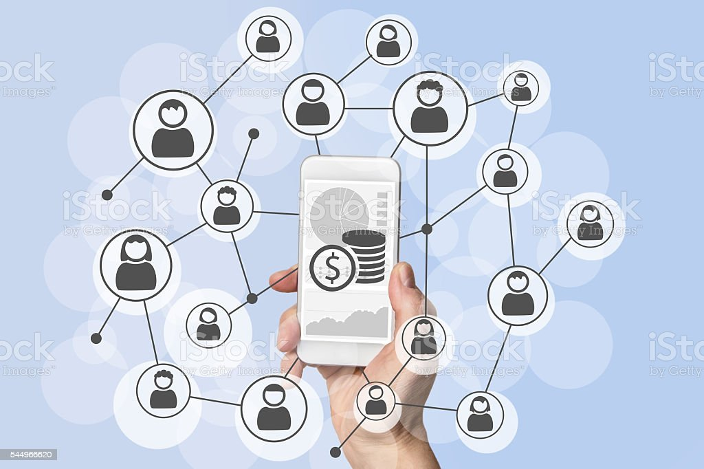 Omnichannel and viral social marketing and mobile sales concept stock photo