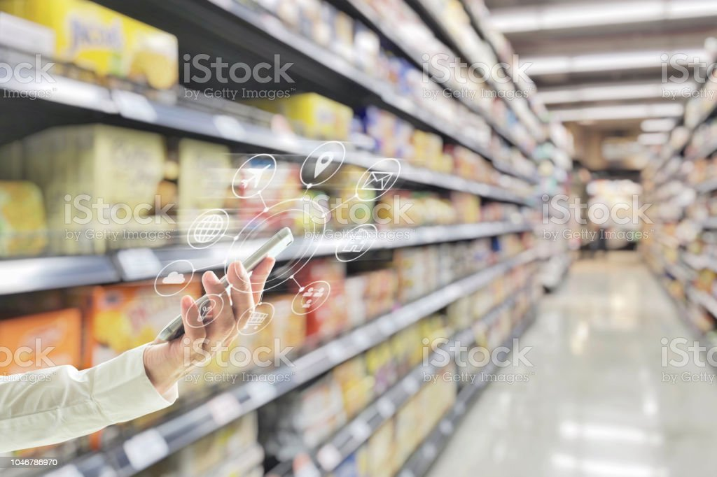 Omni-channel digital marketing on mobile smartphone app for supermarket grocery shopping via internet banking service application in people lifestyle stock photo