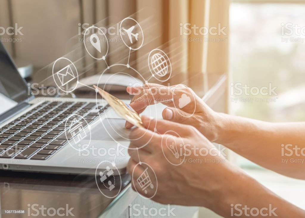 Omni-channel marketing in digital people lifestyle with consumer transferring money or using credit card paying purchase for online shopping, black Friday and Cyber Monday concept stock photo