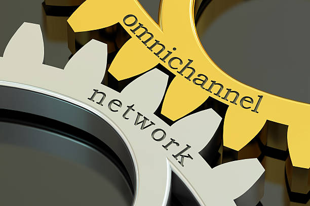 omnichannel network concept on the gearwheels, 3d rendering - omnichannel marketing stock photos and pictures