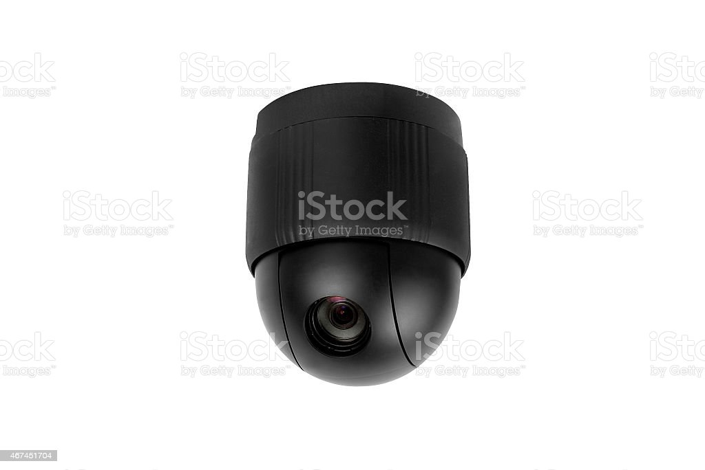 Omnipresent security camera video surveillance globe isolated stock photo