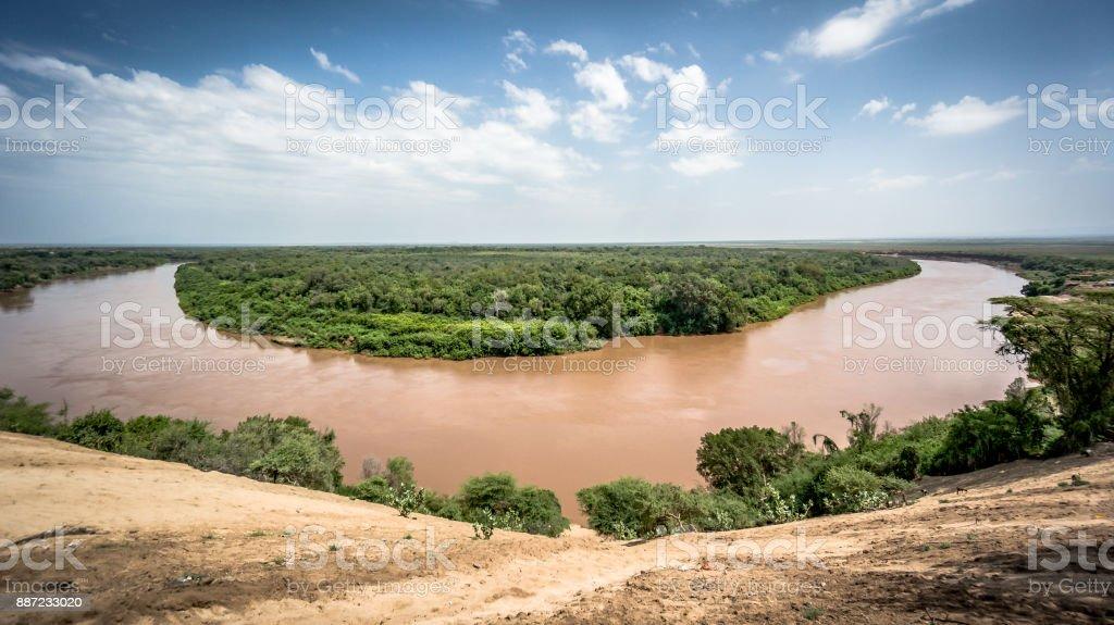 Omo river in Omo Valley, Ethiopia stock photo