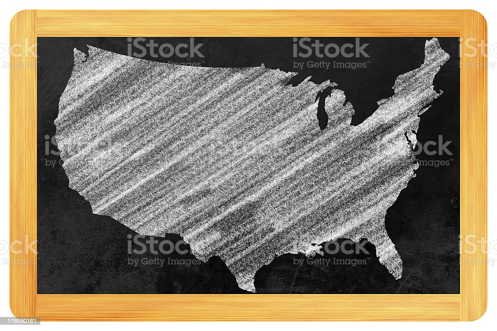 USA on a blackboard royalty-free stock photo
