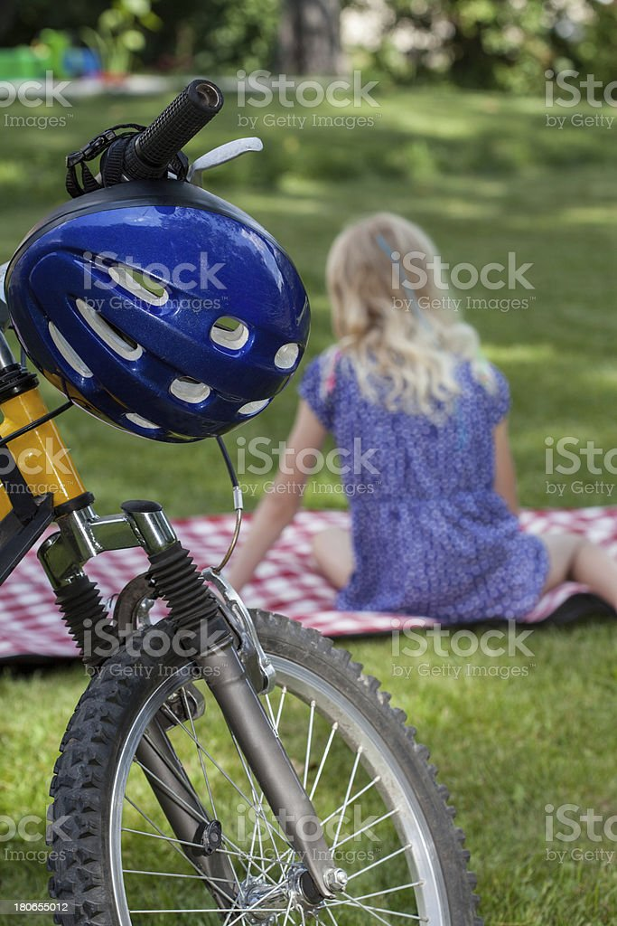 On a blanket after biking royalty-free stock photo