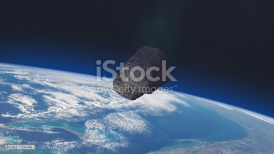istock ASTEROID on a collision course with Planet Earth. 1201650328