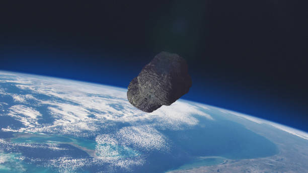 ASTEROID on a collision course with Planet Earth. stock photo