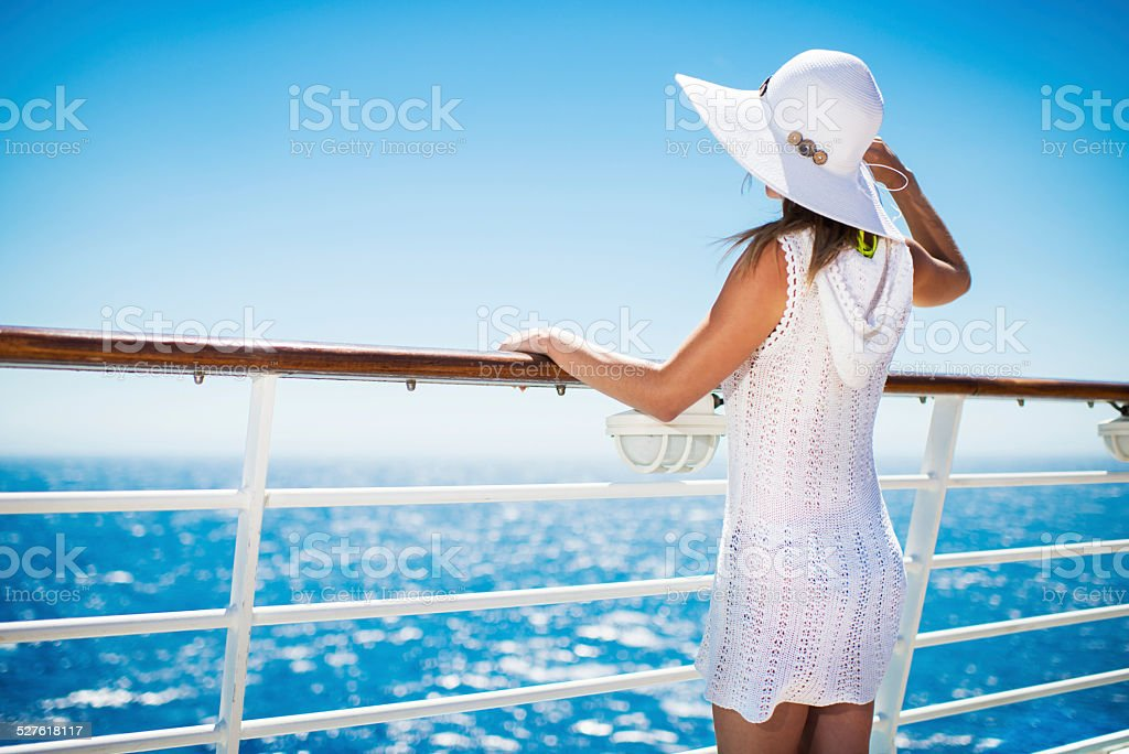 On a cruise. stock photo