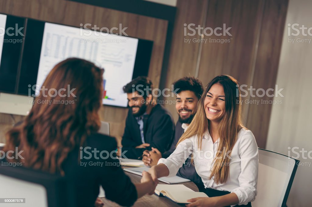 On a job interview stock photo