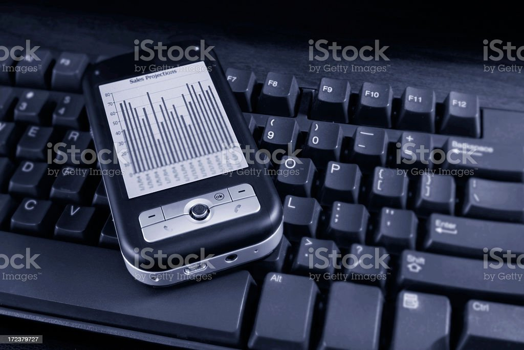 PDA on a Keyboard royalty-free stock photo