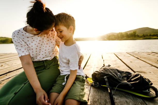 Auf einem See mit meiner Mutter – Foto