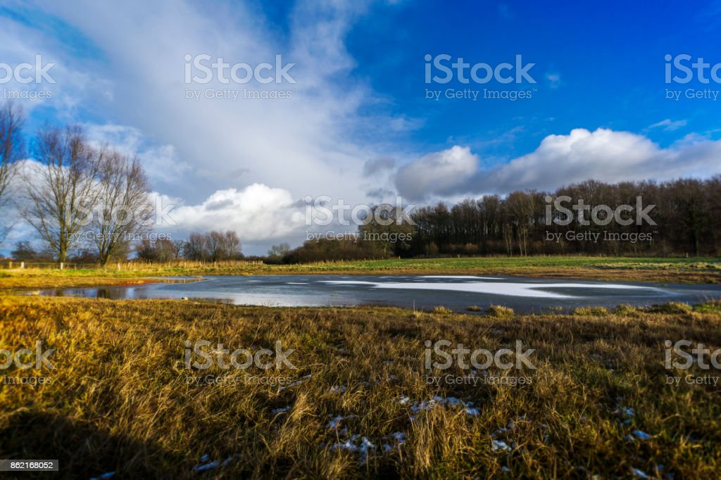 On a meadow with a half-frozen pond 1 stock photo