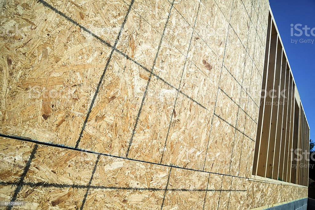 OSB on a Newly Home Construction with 2x6 studs stock photo