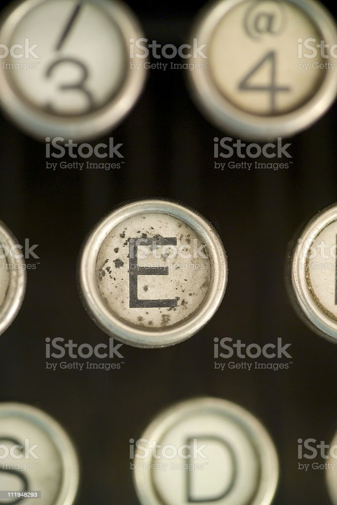 E on a old typewriter keyboard royalty-free stock photo
