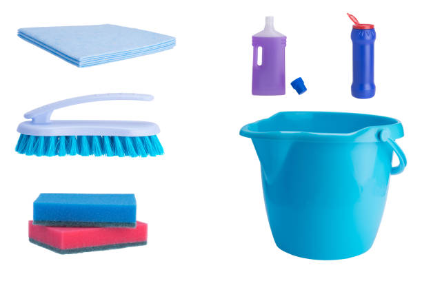on a white background, bottles for cleaning surfaces, a brush, rags, colorful sponges and a blue bucket on a white background, bottles for cleaning surfaces, a brush, rags, colorful sponges and a blue bucket scrubbing brush stock pictures, royalty-free photos & images