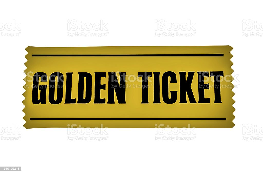 GOLDEN TICKET, on a white background stock photo