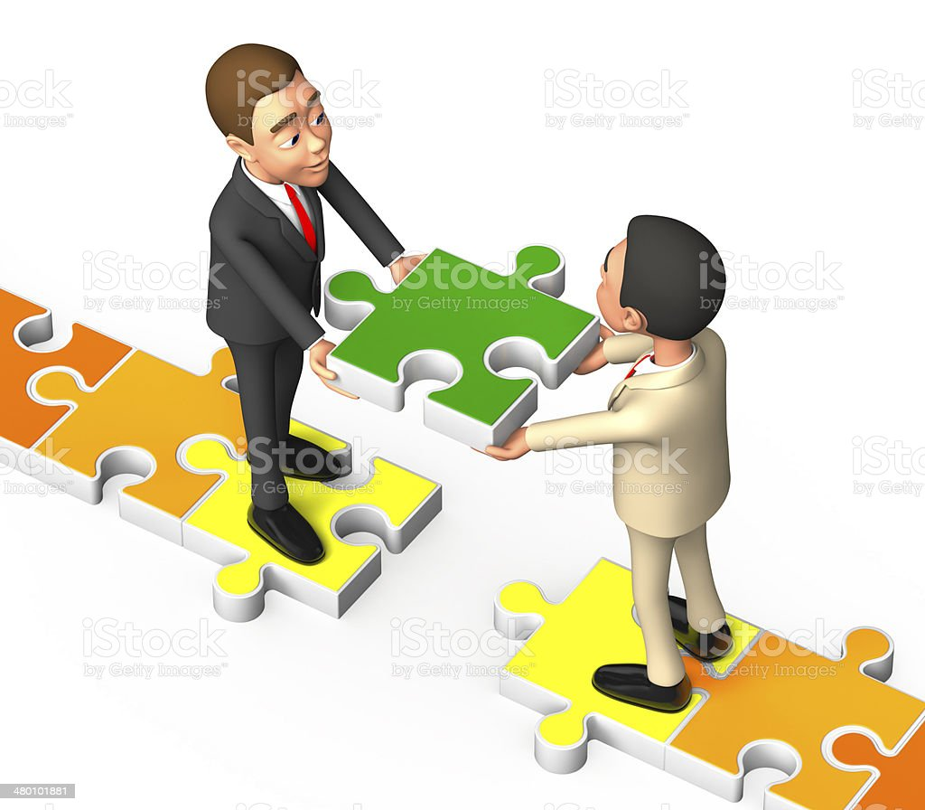 on a white background puzzle put two businessmen stock photo