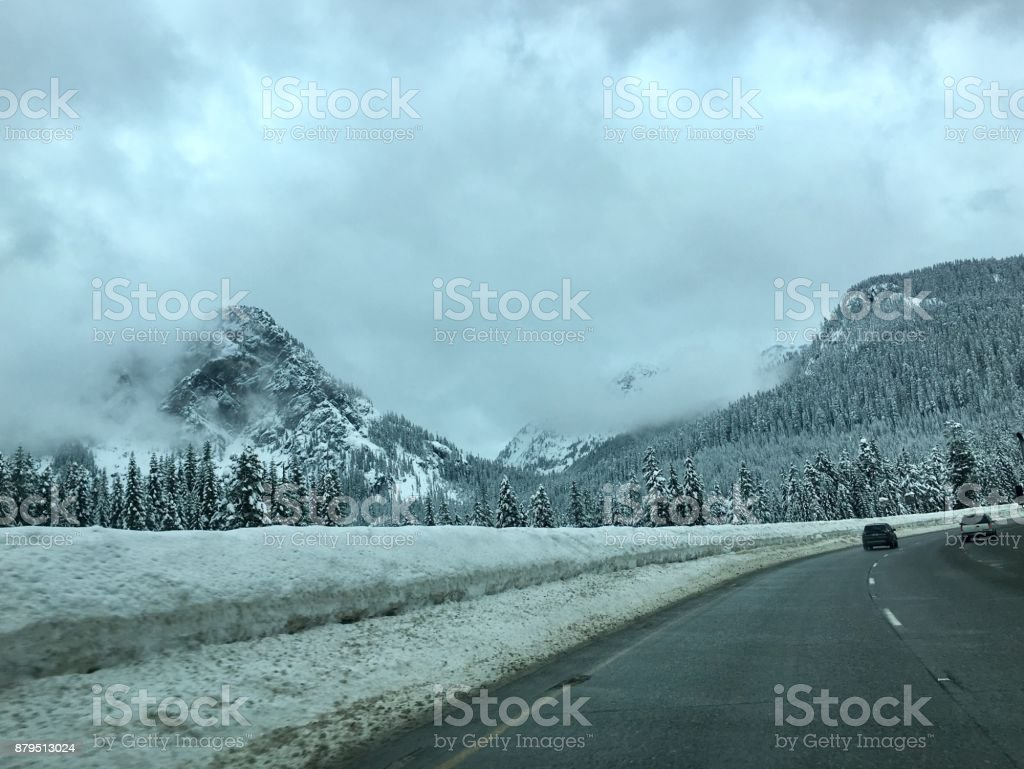 On a Winter road trip stock photo