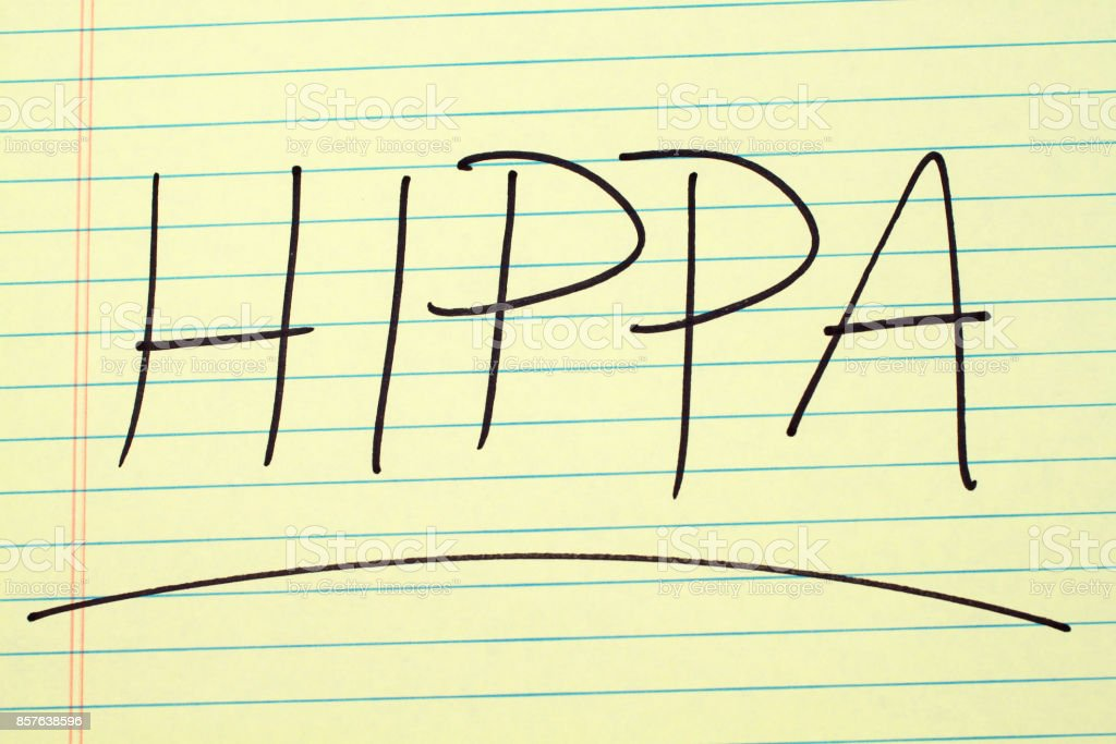HIPPA On A Yellow Legal Pad stock photo