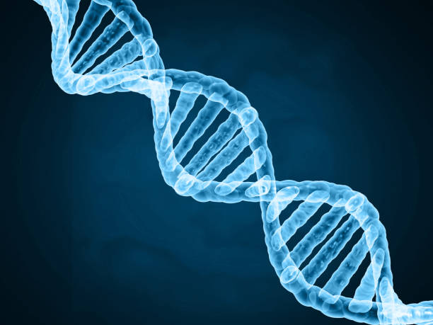DNA on abstract science background stock photo