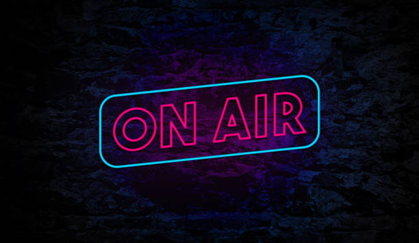 On Air Neon Sign on Brick Wall stock photo
