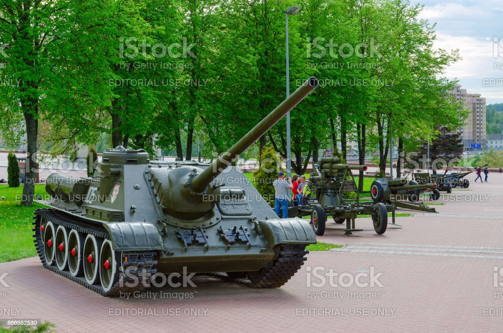 SU-100 (Soviet self-propelled artillery unit class 'Tank Destroyer') on Alley of military glory, Vitebsk, Belarus stock photo