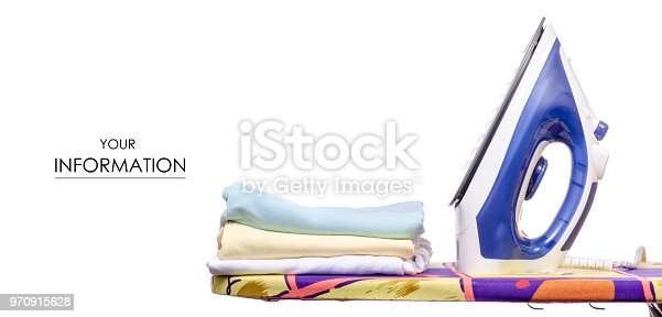 932671892 istock photo On an ironing board iron with laundry clothes pattern 970915628