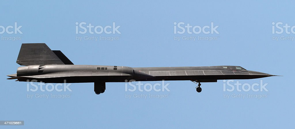 SR-71 on approach (path included) stock photo