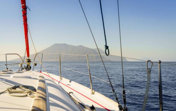 On approach to Salina Island stock photo