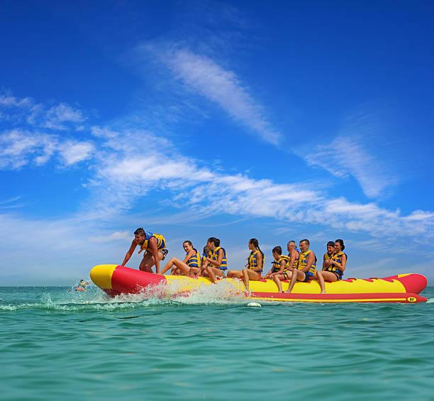 On banana boat stock photo