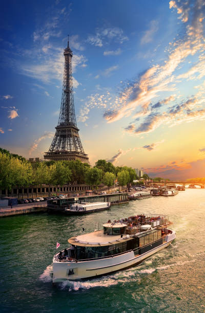 on bank of seine - paris france stock photos and pictures