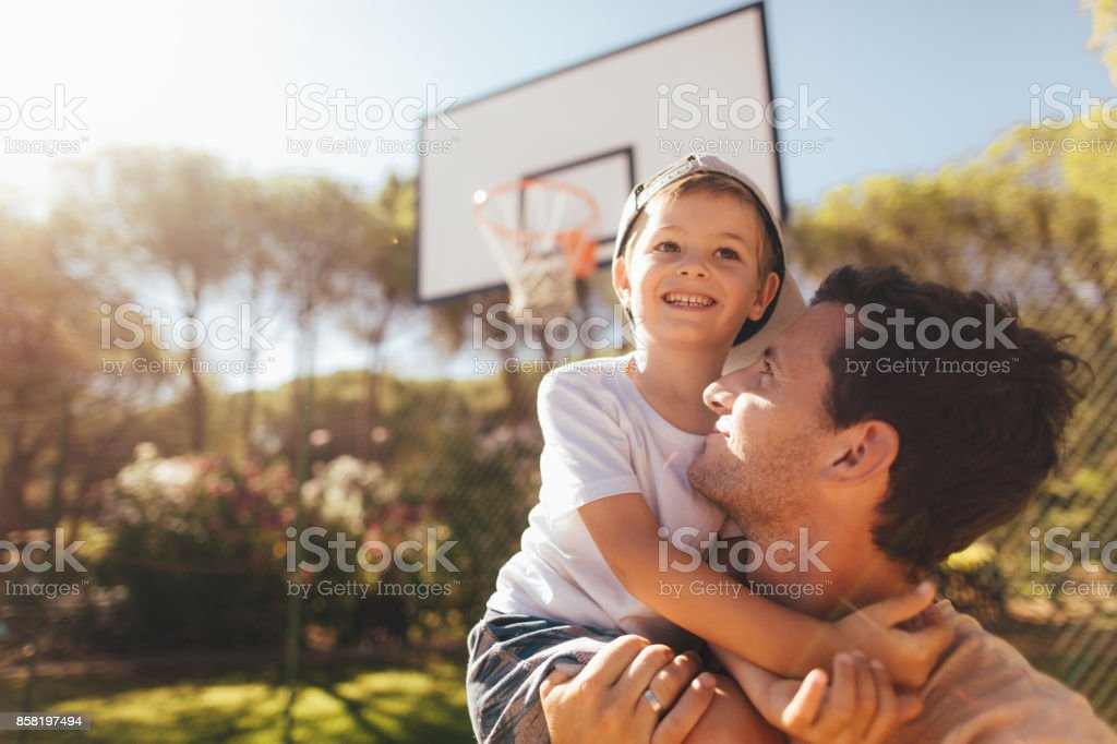 On basketball court with my dad stock photo
