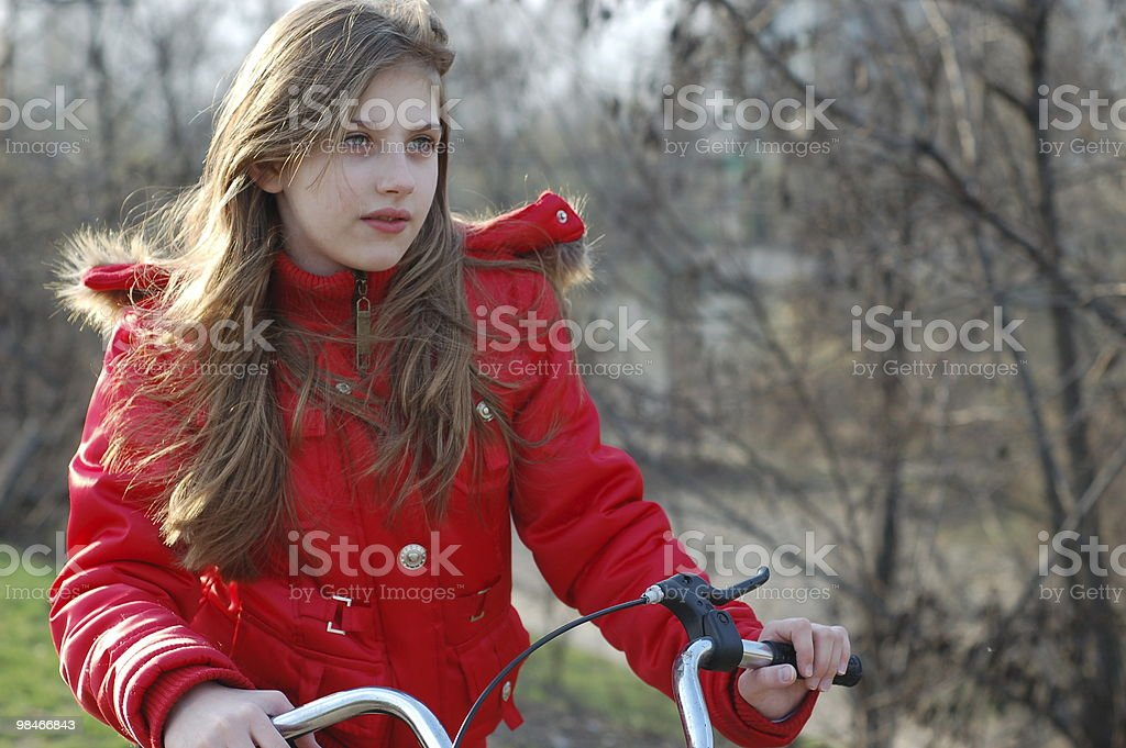on bicycle royalty-free stock photo