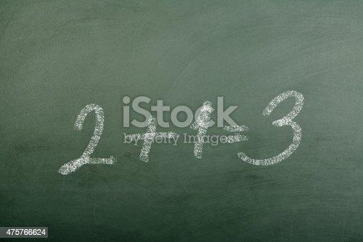 532357605istockphoto 2+1=3 on Blackboard 475766624