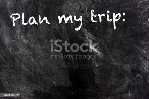 istock PLAN MY TRIP on blackboard with space for text 840904072