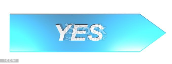 istock YES on blue arrow - 3D rendering 1143237641