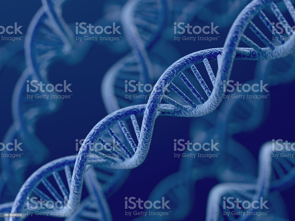 DNA on blue background 3d render of DNA on blue background AIDS Stock Photo
