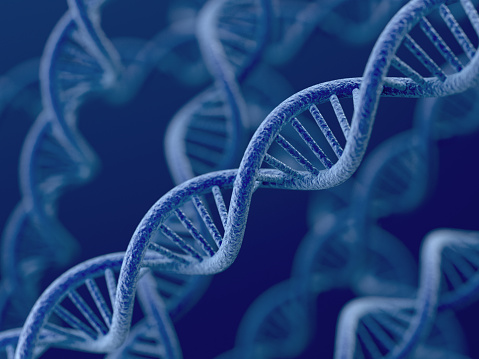 Dna On Blue Background Stock Photo - Download Image Now