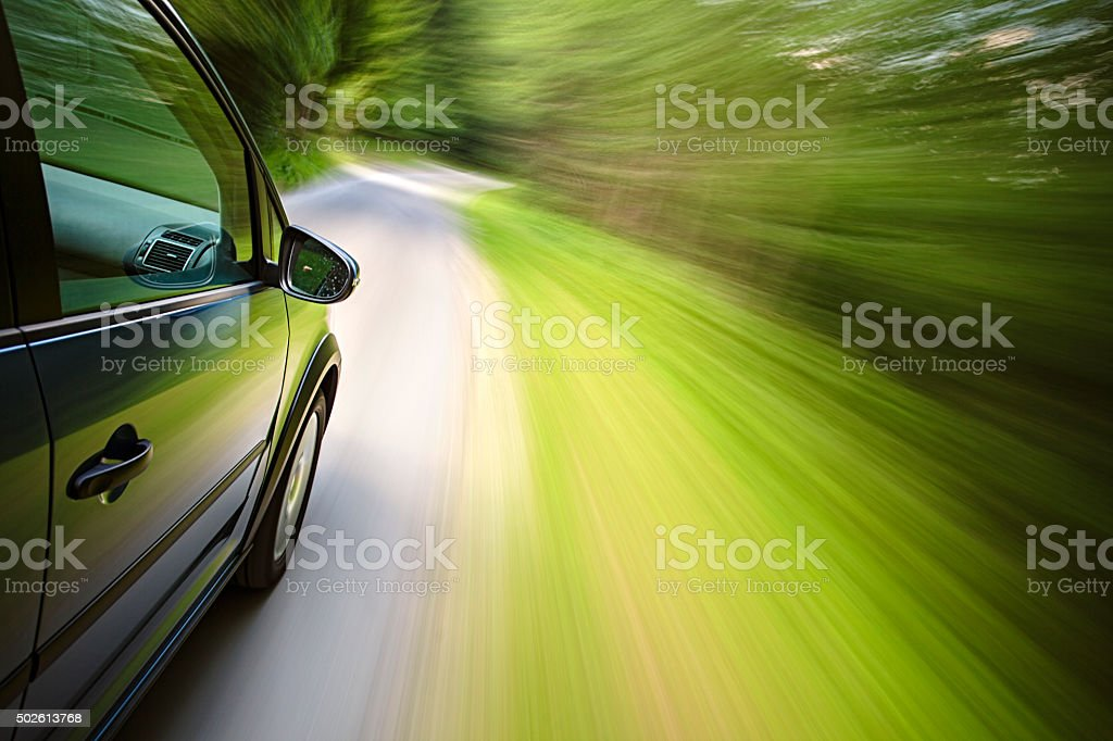 On board a fast  driving car stock photo