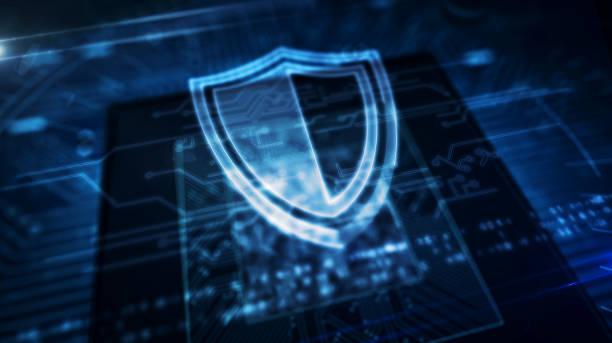 cpu an bord mit schild-hologramm-display - netzwerksicherheit stock-fotos und bilder
